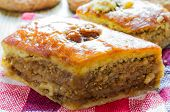 pic of baklava  - Delicious baklava with walnuts Eastern dessert closeup - JPG