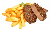 image of beef-burger  - Beef grill steak burgers with golden fried chips and salad isolated on a white background - JPG