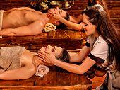 pic of panchakarma  - Couple  having oil Ayurveda spa treatment - JPG