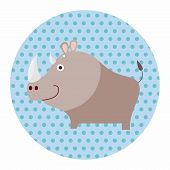 picture of rhino  - Animal Rhino Cartoon Theme Elements - JPG