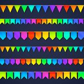 image of vivid  - Vivid colors rainbow flags garlands vector set isolated on dark background - JPG