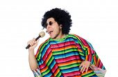 pic of maracas  - Funny mexican wearing poncho with maracas isolated on white - JPG