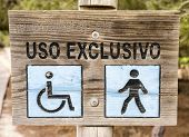 stock photo of pedestrians  - walkway for the exclusive use of pedestrians and wheelchairs - JPG