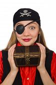 pic of pirate girl  - Pirate girl holding chest box isolated on white - JPG