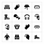 foto of ppe  - Set icons of personal protective equipment isolated on white - JPG