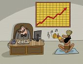 picture of indian currency  - Conceptual cartoon about company profit with CEO and the Indian snake charmer - JPG
