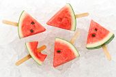 stock photo of popsicle  - watermelon popsicle yummy fresh summer fruit sweet dessert ice background - JPG