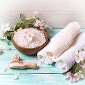 stock photo of salt-bowl  - Spa or wellness setting - JPG