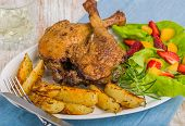 picture of roast duck  - duck leg with roasted potatoes and fruit salsa - JPG