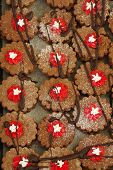 foto of linzer  - Linzer cookies with jam backgrounds food theme - JPG