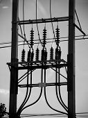stock photo of power transmission lines  - Street electric post power line in Thailand - JPG