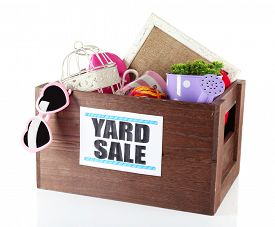pic of yard sale  - Box of unwanted stuff ready for yard sale isolated on white - JPG