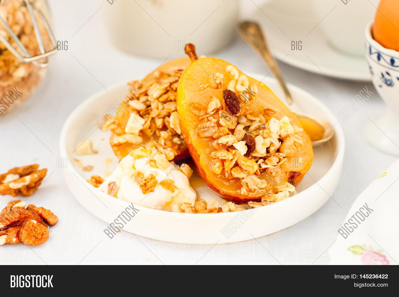 Honey Roast Pears Granola Yogurt Image & Photo | Bigstock