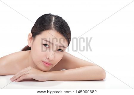 Asian charming young woman leaning on surface