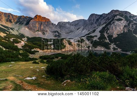 Amazing sunset of Sinanitsa peak and  the lake, Pirin Mountain, Bulgaria