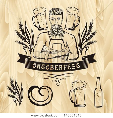 Oktoberfest retro styled label with brewer beer mug wheat decorations on wooden background. Vector illustration.