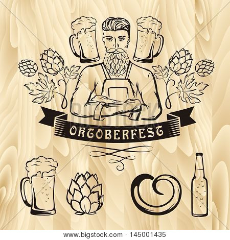 Oktoberfest retro styled label with brewer beer mug hop decorations on wooden background. Vector illustration.