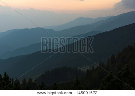 Sunset Landscape of nothen part of Pirin mountain near Sinanitsa peak,  Bulgaria
