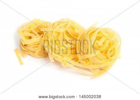 Pasta nests isolated on white background