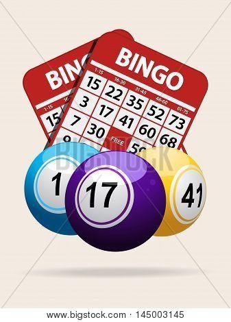 Bingo Balls Over Red Bingo Cards on White Background