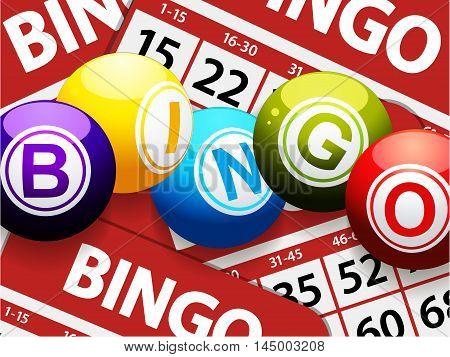 Red Bingo Cards Close Up Background with Bingo Balls