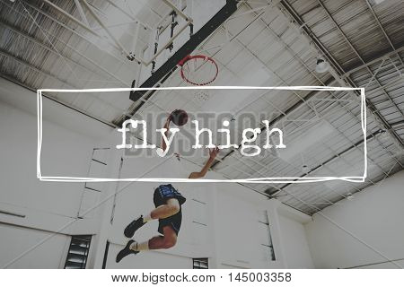 Basketball Jump Shot Reach Hoop Shoot Sport Concept