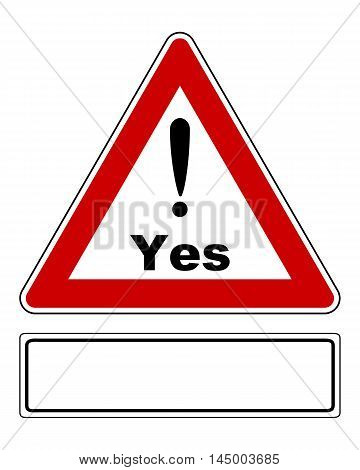 Detailed and accurate illustration of attention sign Yes with exclamation mark and added sign