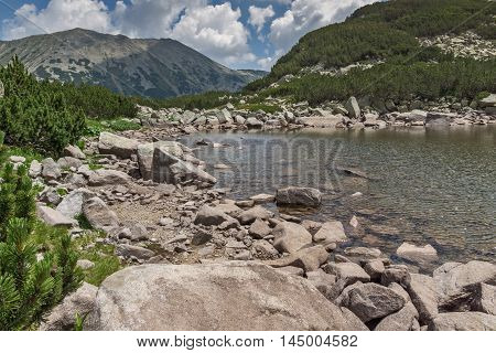 Amazing Panorama of Rocky peaks and Upper Muratovo lake, Pirin Mountain, Bulgaria