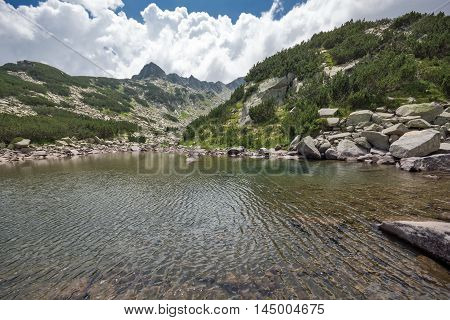 Panoramic view of Upper Muratovo lake, Pirin Mountain, Bulgaria