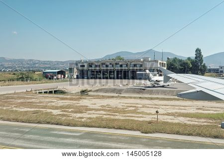 Thessaloniki, Greece - August 15 2016: Fire engines in Macedonia airport station Thessaloniki international airport Macedonia (SKG) serves more than 5 million passengers annually.