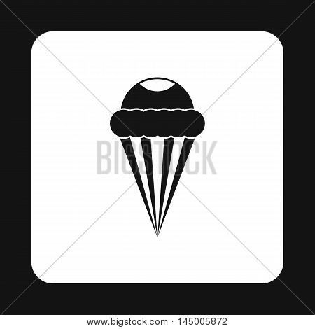 Ice cream cone with frosting icon in simple style isolated on white background. Sweets symbol