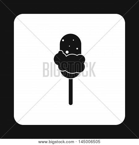 Chocolate ice cream on stick icon in simple style isolated on white background. Sweets symbol