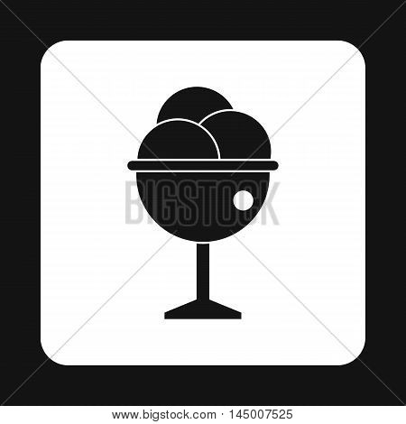 Ice cream ball in glass icon in simple style isolated on white background. Sweets symbol