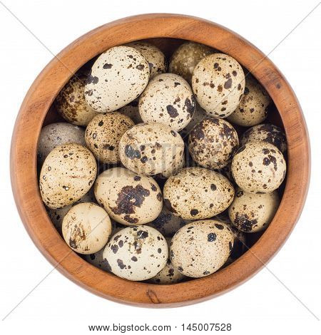 quail eggs in wooden bowl isolated on white background cutout. Top view.
