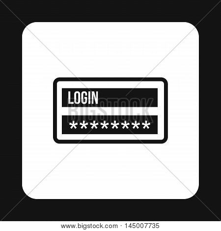 Username and password icon in simple style isolated on white background. Authorization symbol