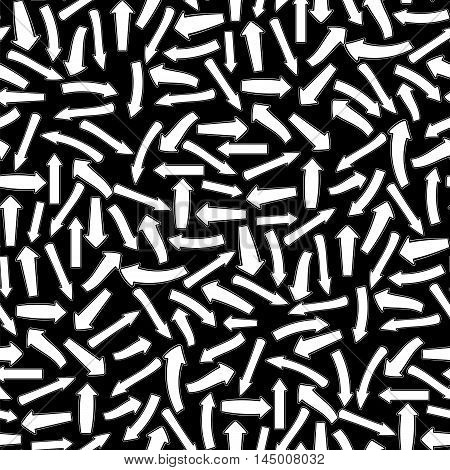 Different White Arrows Seamless Pattern on Black