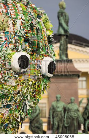 HELSINKI, FINLAND - AUGUST 25: Meren elämät installation by Choi Jeong Hwan at the Night of the Arts festival featuring various marine creatures made out of recycled plastic bags at the Senate Square August 25, 2016 in Helsinki, Finland.