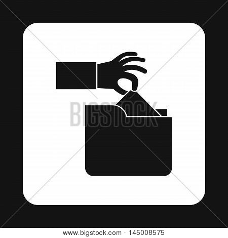 Hand stealing e-mail icon in simple style isolated on white background. Hacking symbol