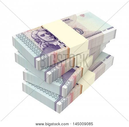 Transnistrian ruble bills stack isolated on white background. 3D illustration.