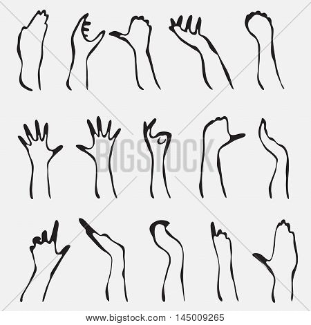 Set Of 15 Hand Silhouettes