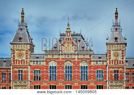 Building of Railway Station in Amsterdam Netherlands