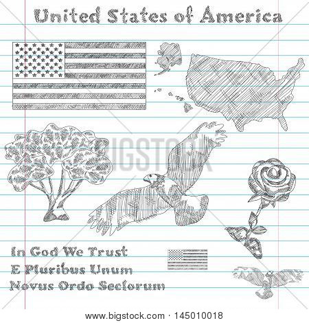 United States Of America Symbols Sketch