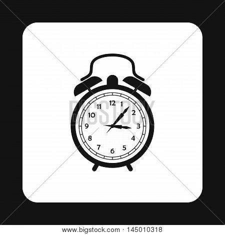Alarm clock icon in simple style isolated on white background. Time symbol