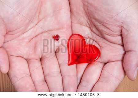 Little And Big Hearts In Male Handful