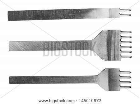 Prongs Lacing Stitching Chisels Isolated