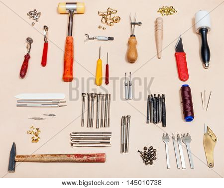 Set Of Various Leathercraft Tools On Leather