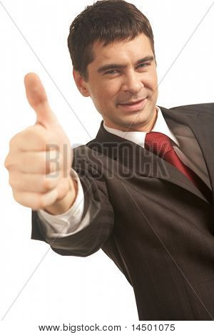 Image of happy businessman showing thumb up