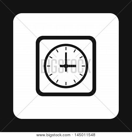 Square clock icon in simple style isolated on white background. Time symbol