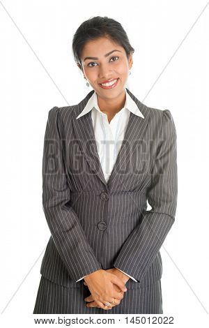 Portrait of black business woman in formalwear looking at camera, isolated on white background.