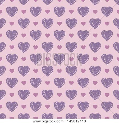 Tender heart seamless pattern. Love design. Elegant backdrop for banners. Vector illustration.